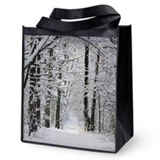 Winter Forest Path Reusable Grocery Tote Bag