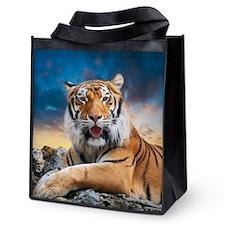 Tiger Sunset Reusable Grocery Tote Bag