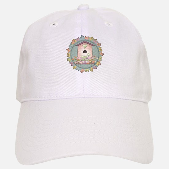 Country Pink Birdhouse Baseball Baseball Cap