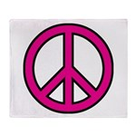 Pink Peace Sign Throw Blanket