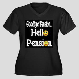Retirement Pension Women's Plus Size V-Neck Dark T