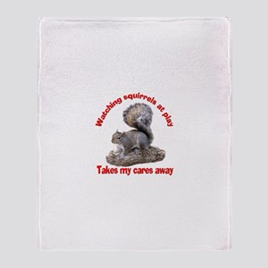 Squirrels at Play Throw Blanket