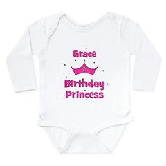 1st Birthday Princess Grace! Long Sleeve Infant Bo