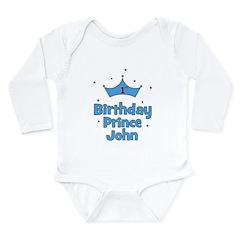 1st Birthday Prince JOHN! Long Sleeve Infant Bodys