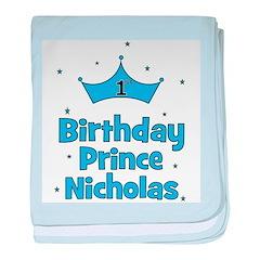 1st Birthday Prince Nicholas! baby blanket