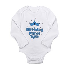 1st Birthday Prince TYLER! Long Sleeve Infant Body