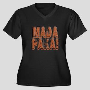 Mada Paka! Women's Plus Size V-Neck Dark T-Shirt