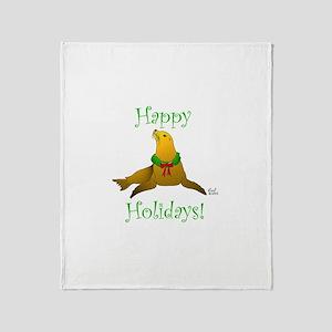 Christmas Sea Lion Throw Blanket
