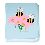 Twin Bees on Flowers baby blanket