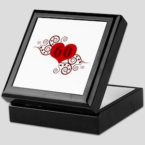60th Birthday Fancy Heart Keepsake Box