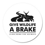 B/w Give Wildlife A Brake Round Car Magnet