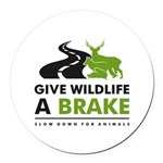 Bl/wh/grn Give Wildlife A Brake Round Car Magnet