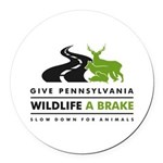 W/b/grn Give Pa Wildlife A Brake Round Car Magnet