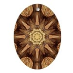 Hardwood Sunburst Oval Ornament