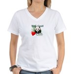 Heart a Book - Panda Women's V-Neck T-Shirt