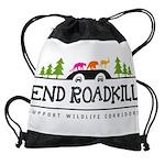 End Roadkill Orange Sun Drawstring Bag