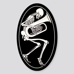 Tuba Skeleton Sticker (Oval)