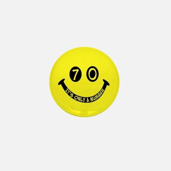 70th birthday smiley face Mini Button