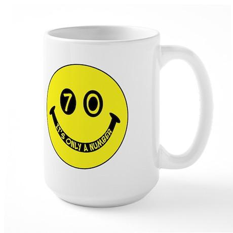 70th birthday smiley face Large Mug