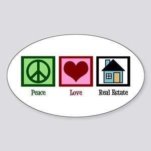 Peace Love Real Estate Sticker (Oval)