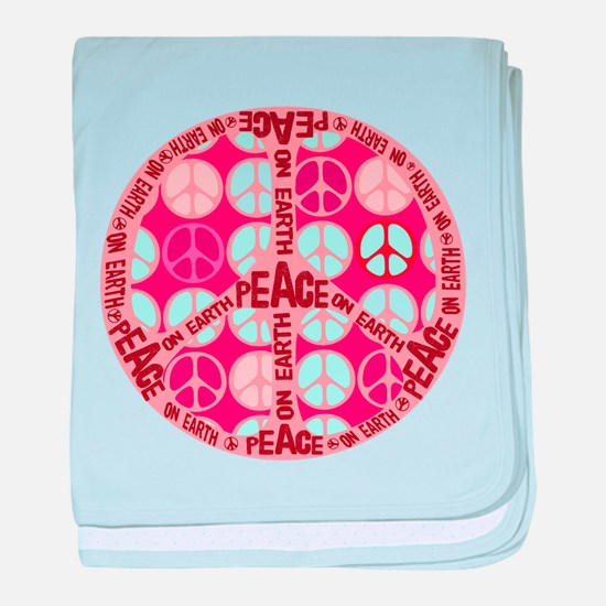 Pink - Peace on Earth baby blanket