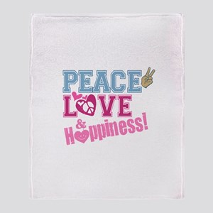 Peace Love and Happiness Throw Blanket
