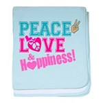 Peace Love and Happiness baby blanket