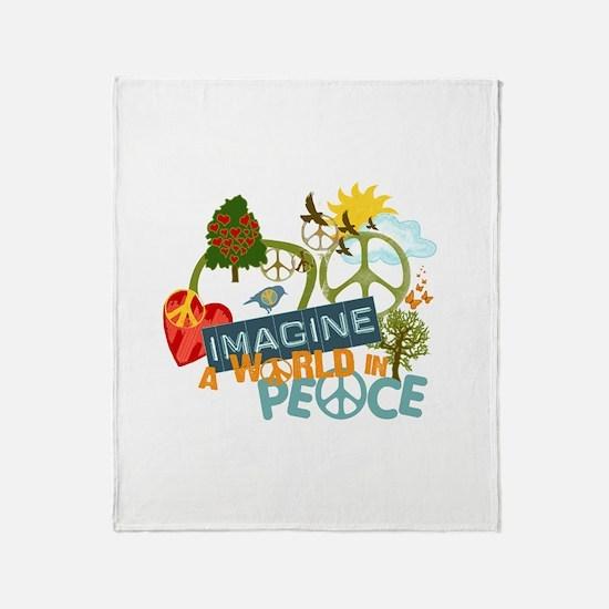 Rainbow Peace Abtract Art Throw Blanket