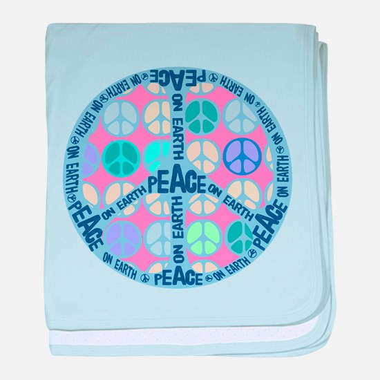 Multi Peace On Earth Sign baby blanket