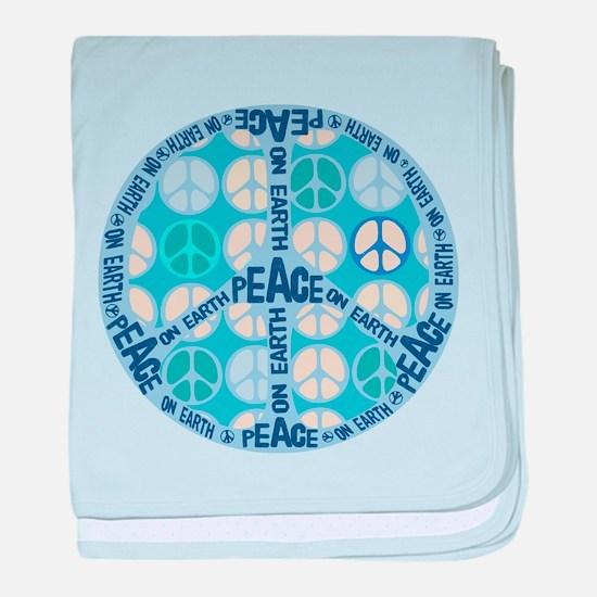 Aqua Peace On Earth Sign baby blanket