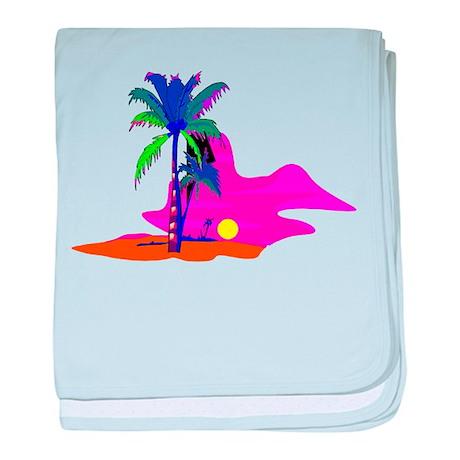 Palm Island Sunset baby blanket