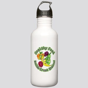Healthy Food Builds Great Bra Stainless Water Bott