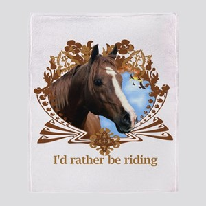 I'd Rather Be Riding Throw Blanket