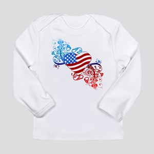 July 4th Heart Scroll Long Sleeve Infant T-Shirt