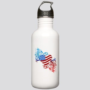July 4th Heart Scroll Stainless Water Bottle 1.0L