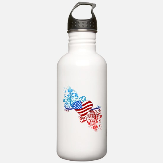 Independence Day Heart Scroll Water Bottle