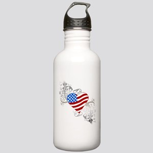 Independence Day Flag Heart Stainless Water Bottle