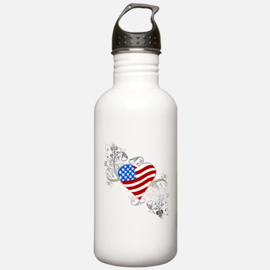 Independence Day Flag Heart Water Bottle