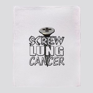 Screw Lung Cancer Throw Blanket