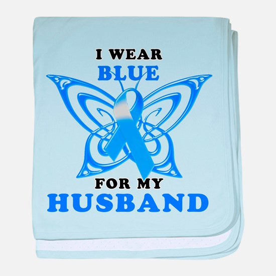I Wear Blue for my Husband baby blanket