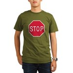 Stop Sign Organic Men's T-Shirt (dark)