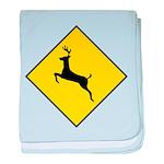 Deer Crossing Sign baby blanket