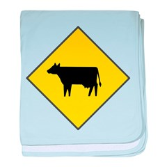 Cattle Crossing Sign baby blanket