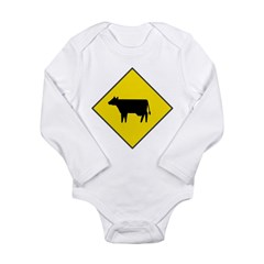 Cattle Crossing Sign Long Sleeve Infant Bodysuit