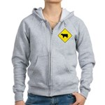 Cattle Crossing Sign Women's Zip Hoodie