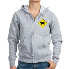 Cattle Crossing Sign Zip Hoodie