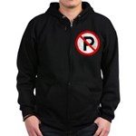 No Parking Sign Zip Hoodie (dark)