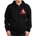 Cliff Warning Sign Zip Hoodie (dark)