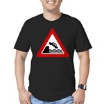 Cliff Warning Sign Men's Fitted T-Shirt (dark)