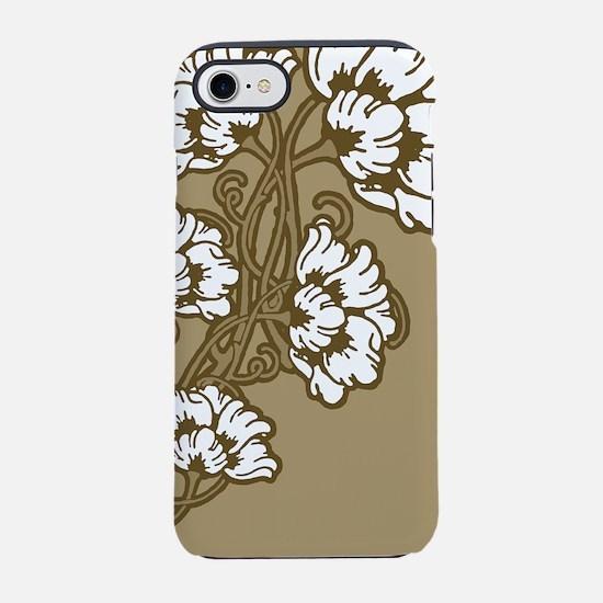 Tan Art Nouveau Flowers iPhone 7 Tough Case